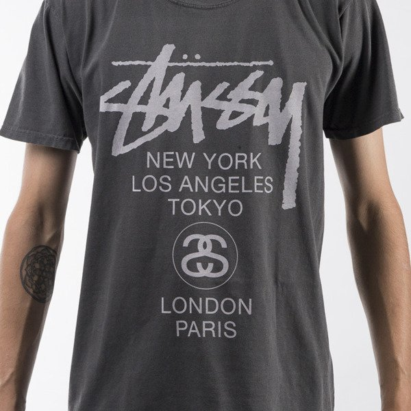 Stussy t-shirt World Tour Pigment Dyed black