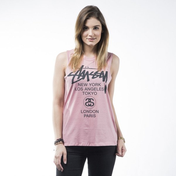 Stussy tank top World Tour Muscle rose WMNS