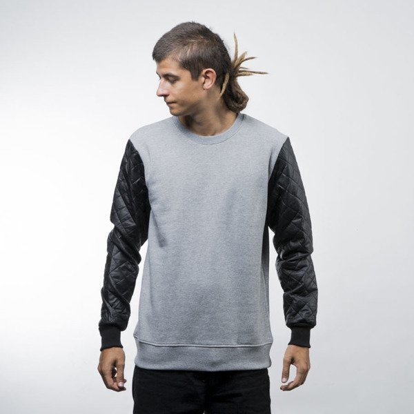 Urban Classics Quilt Leather Imitation Sleeve Crewneck grey / black (TB1110)