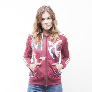 Adidas bluza sweatshirt TT Hooded Track Tops burgundy (AY7127)