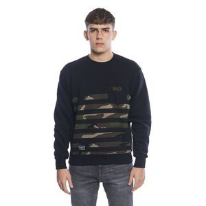 Backyard Cartel bluza sweatshirt Half Stripes Woodland Pocket crewneck black