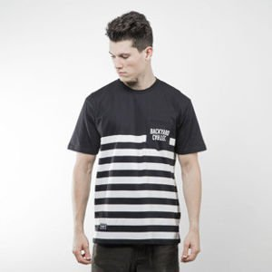 Backyard Cartel koszulka t-shirt Half Stripes Pocket black