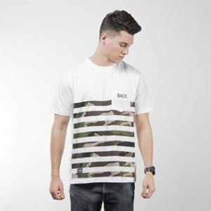 Backyard Cartel koszulka t-shirt Half Stripes Woodland Pocket white