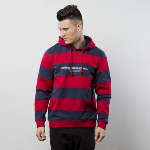 Bluza Stussy sweatshirt Hooded Stripe Rugby red FW17