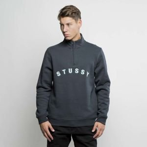 Bluza Stussy sweatshirt Smooth Quarter Zip Mock Neck black