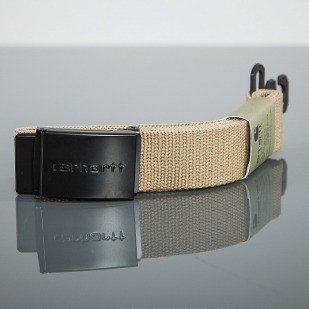 Carhartt WIP pasek belt Clip Chrome Black Leather