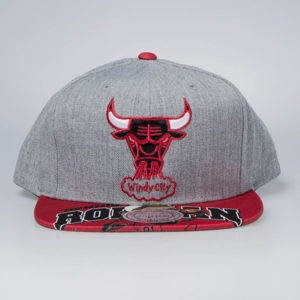 Czapka Mitchell & Ness snapback Chicago Bulls grey / red Caricature