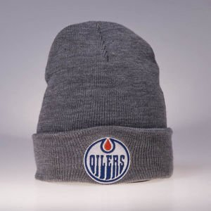Czapka zimowa Mitchell & Ness Edmonton Oilers grey heather Team Logo Cuff Knit