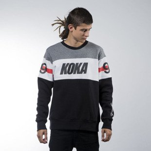 Koka bluza sweatshirt Stripes crewneck black / white / grey