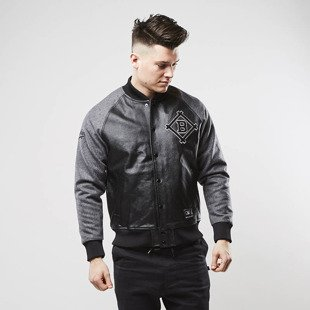 Majestic Athletic kurtka Arblast Leather / Wool Letterman Jacket black / grey MBK2354DB