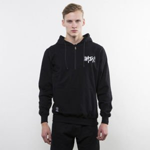 Mass Denim bluza Signature Handmade Half Zip Hoody black