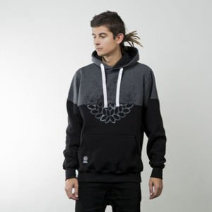 Mass Denim bluza sweatshirt Base Cut hoody black / dark heather grey