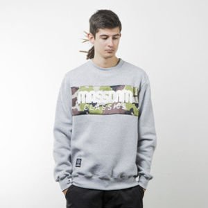 Mass Denim bluza sweatshirt Classics Camo crewneck light heather grey
