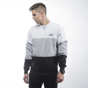Mass Denim bluza sweatshirt Horizon crewneck light heather grey / black