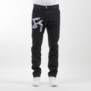 Mass Denim spodnie Jeans Signature Big straight fit rinse black