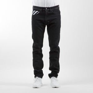 Mass Denim spodnie Jeans Stripes Logo tapered fit rinse black
