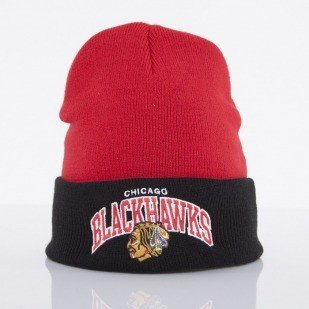 Mitchell & Ness czapka Chicago Blackhawks red Arched Cuff Knit