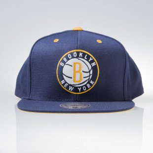Mitchell & Ness czapka snapback Brooklyn Nets navy NAVY & YELLOW VX05Z