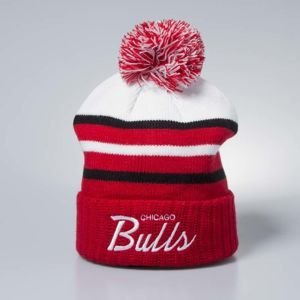Mitchell & Ness czapka zimowa Chicago Bulls white/red Colour Block Special Script Knit