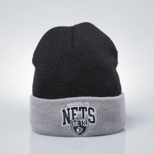Mitchell & Ness czapka zimowa winter beanie Brooklyn Nets black / grey EU349 ARCHED CUFF KNIT