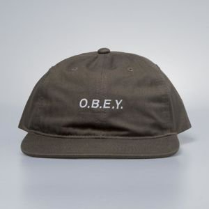 Obey czapka Barrage 6 Panel Snapback olive brown