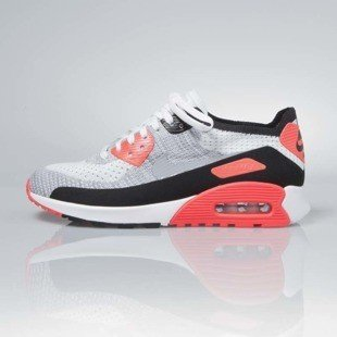 Sneakers buty Nike WMNS Air Max 90 Ultra 2.0 Flyknit white / wolf grey-bright crimson 881109-100