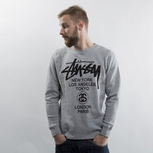 Stussy bluza World Tour Crew grey heather