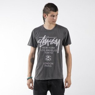 Stussy t-shirt koszulka World Tour Pigment Dyed black