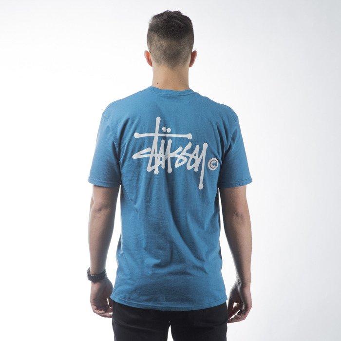 Stussy t shirt koszulka basic logo ocean blue for Ocean blue t shirt