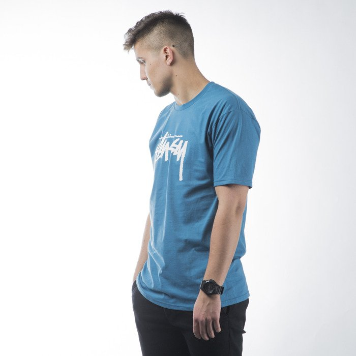 Stussy t shirt koszulka stock ocean blue for Ocean blue t shirt