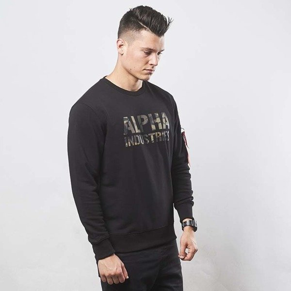 Alpha Industries bluza Camo Print Sweat black / woodland