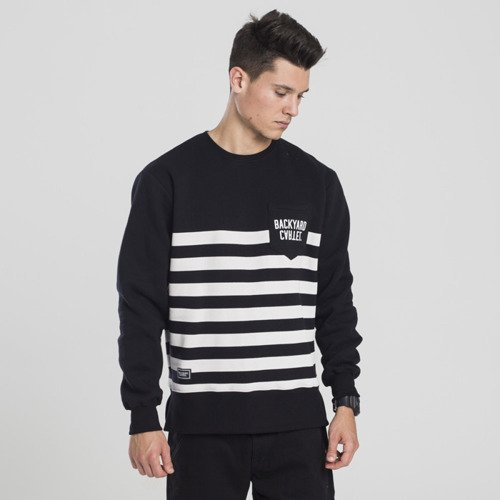 Backyard Cartel bluza sweatshirt Half Stripes Pocket crewneck black