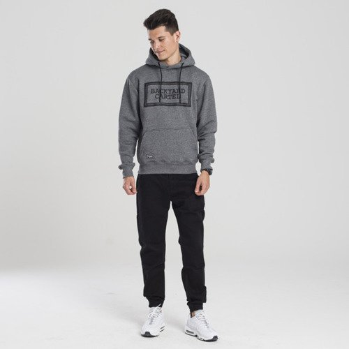 Backyard Cartel bluza sweatshirt Label Logo hoody dark grey heather