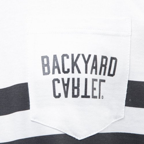 Backyard Cartel koszulka t-shirt Half Stripes Pocket white