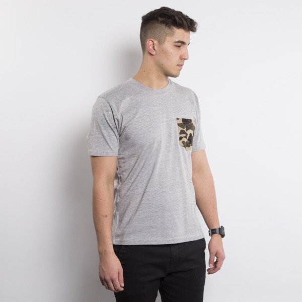Carhartt WIP koszulka t-shirt Contrast Pocket grey heather / camo duck