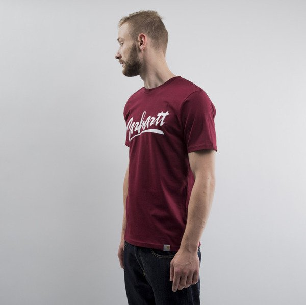 Carhartt koszulka Brush cranberry / white