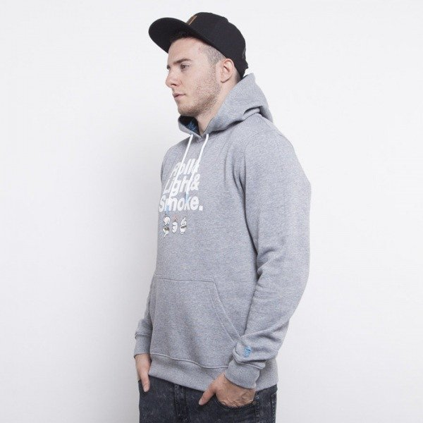 Cayler & Sons bluza Roll Light Smoke hoody grey heather / white / blue leaves