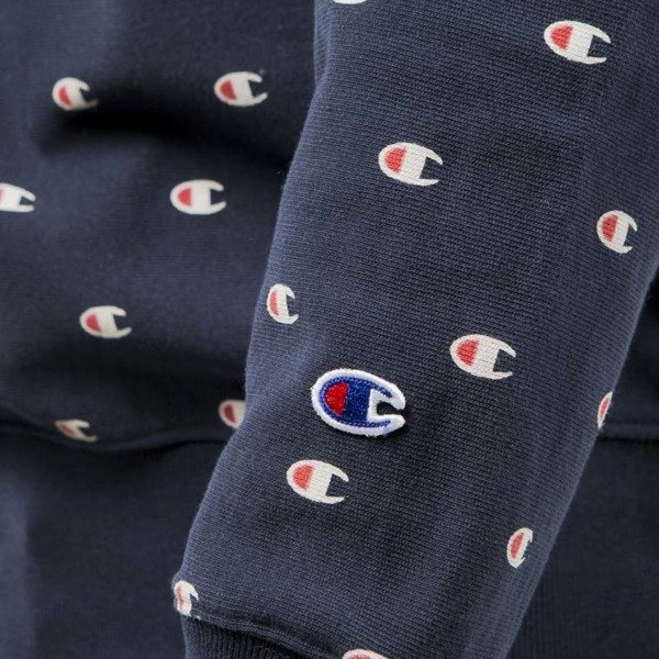 Champion bluza sweatshirt Reverse Weave All Over Embroidered navy 210757S17-2192