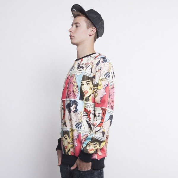Criminal Damage bluza crewneck Comic mutlicolor