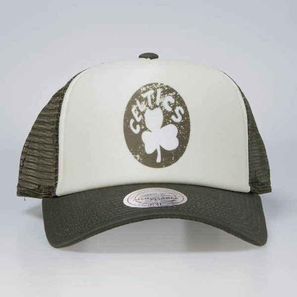 Czapka Mitchell & Ness snapback Boston Celtics stone / olive The Distressed Print P.P Trucker