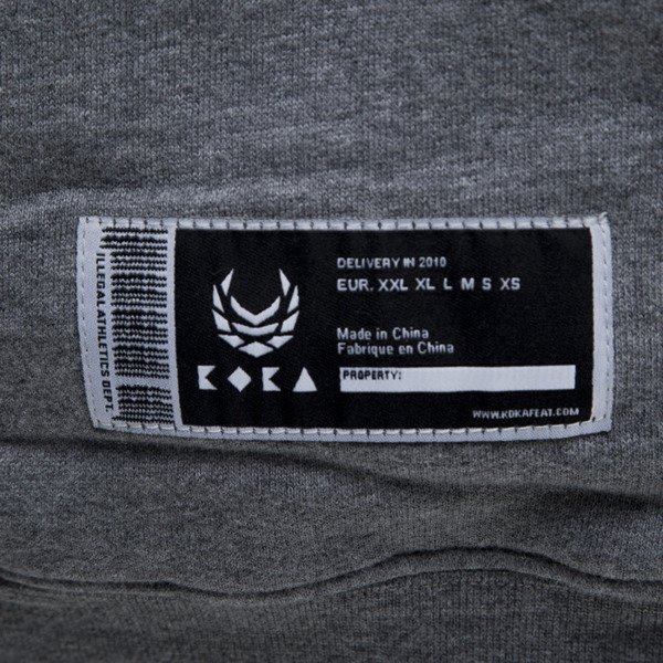 KOKA bluza hoodie FAKE 3D heather grey