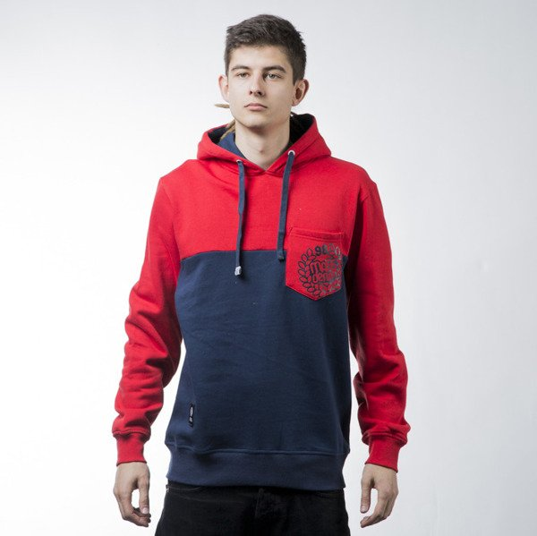 Mass Denim sweatshirt bluza Pocket Base hoody red / navy