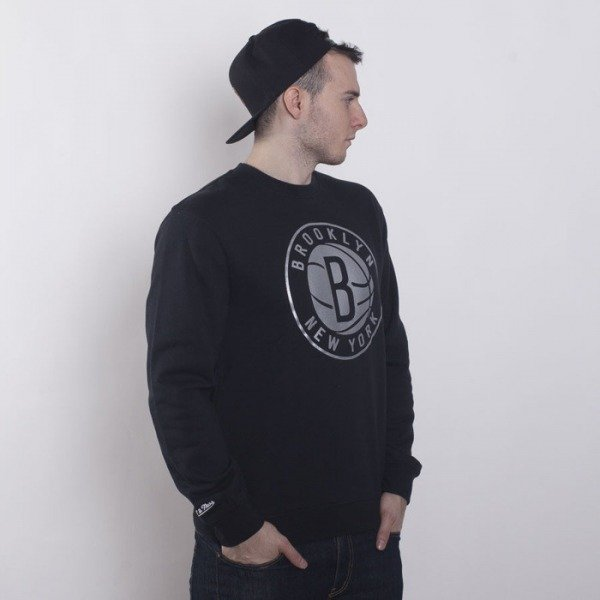 Mitchell & Ness bluza Brooklyn Nets crewneck black Metallic Silver