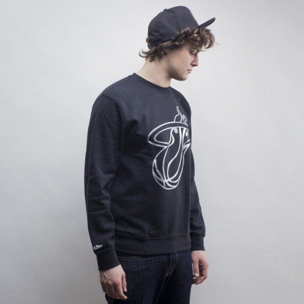 Mitchell & Ness bluza Miami Heat crewneck black Metallic Silver Centre Logo