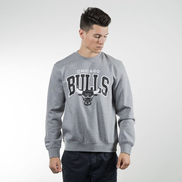 Mitchell & Ness bluza crewneck Chicago Bulls grey heather Black and White Team Arch