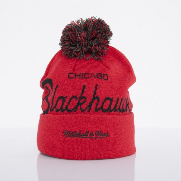 Mitchell & Ness czapka Chicago Blackhawks red Special Script Knit Bobble