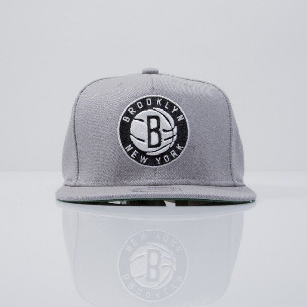 Mitchell & Ness czapka snapback Brooklyn Nets grey  WOOL SOLID NL99Z