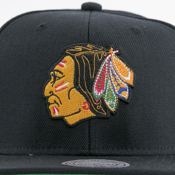 Mitchell & Ness czapka snapback Chicago Blackhawks black  WOOL SOLID NZ980