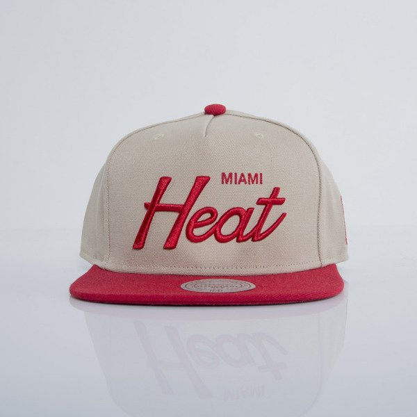 Mitchell & Ness czapka snapback Miami Heat beige / red EU436