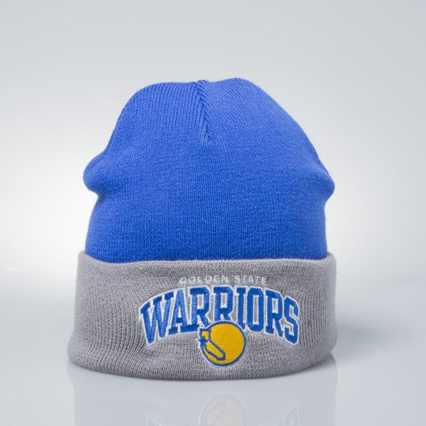 Mitchell & Ness czapka zimowa winter baenie Golden State Warriors blue / grey EU349 ARCHED CUFF KNIT